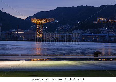 Giant Cantilever Crane In Dejima Wharf In Nagasaki, Japan