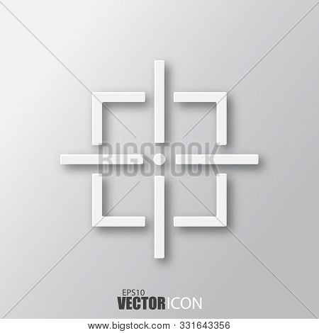 Aim Icon In White Style With Shadow Isolated On Grey Background.