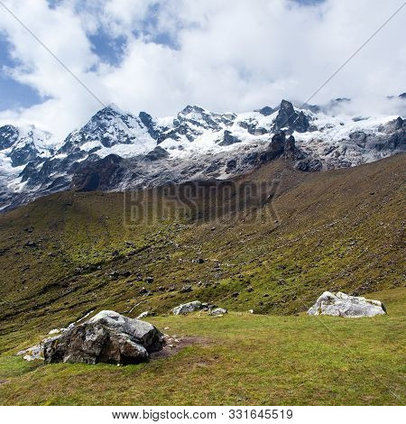 Beautiful Mountains On Salkantay Trek In The Way To Machu Picchu, Cuzco Area In Peruvian Andes