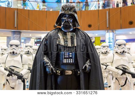Dubai, United Arab Emirates - August, 2019: Stormtroopers And Sith Lord Darth Vader From Star Wars M