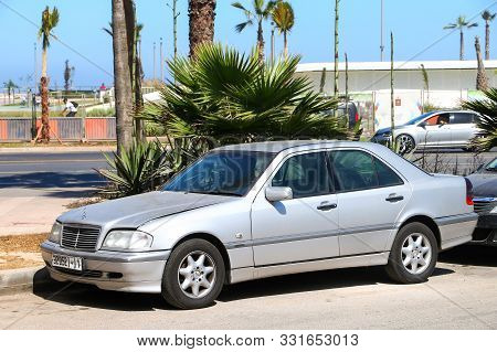 Casablanca, Morocco - September 29, 2019: Compact Executive Car Mercedes-benz C-class (w202) In The