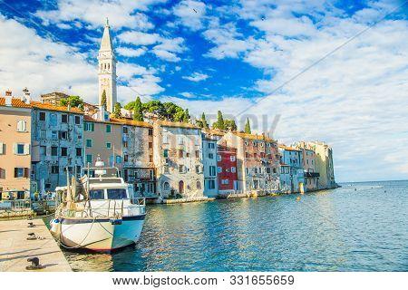 Croatia, Istria, Docks In The Old Town Of Rovinj On Adriatic Sea Coastline