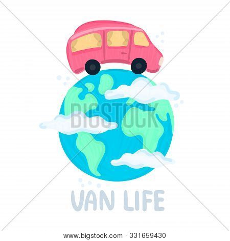 Van Life Concept. Campervan Circling Planet. Traveling Across World. Earth In Clouds. Red Camper In