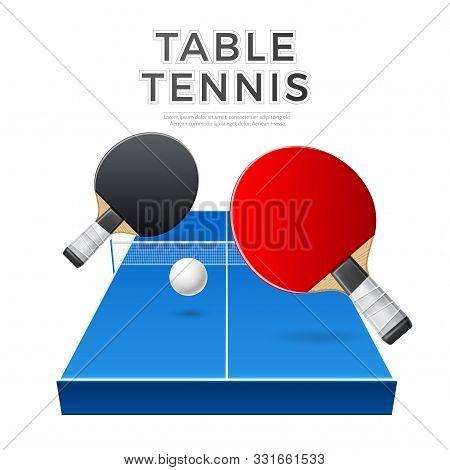 Vector Table Tennis Rockets Ball, Ping Pong