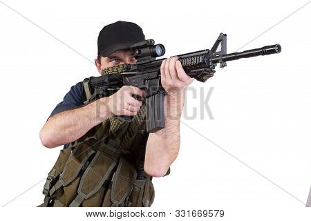 mercenary with rifle isolated on white background poster