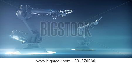 Two Futuristic Robotic Industrial Arm Manipulators On Hi Tech Blue Background, Concept Of Future Ind