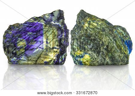 Polished Side And Raw Side Labradorite (labrador) Gemstone On White Background