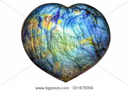 Beautiful Natural Labradorite In Heart Shape - Close Up