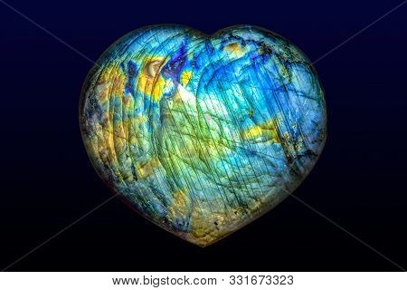 Beautiful Natural Labradorite In Heart Shape- Close Up