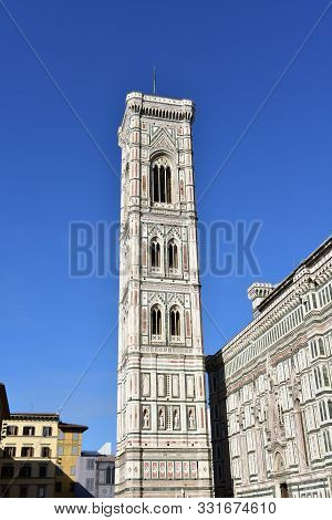 Campanile Di Giotto With Blue Sky. Florence, Italy.