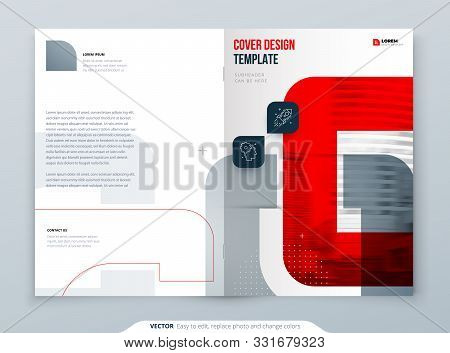 Red Brochure Design. A4 Cover Template For Brochure, Report, Catalog, Magazine. Brochure Layout With