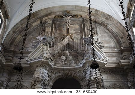Lorvao, Portugal - August 21, 2019: Detail Of The Baroque And Italianized Neoclassical Altarpiece Of