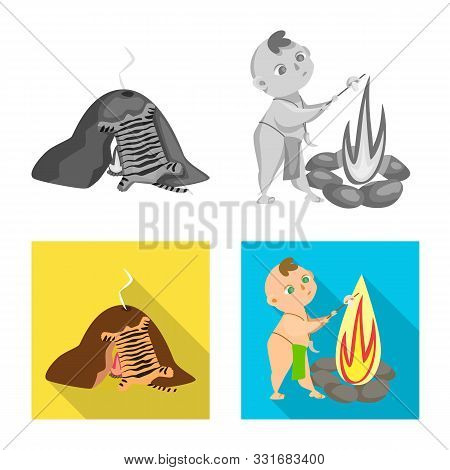 Vector Illustration Of Evolution And Prehistory Logo. Set Of Evolution And Development Vector Icon F
