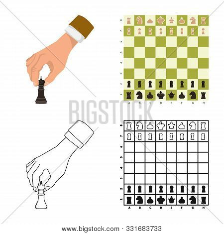 Vector Illustration Of Checkmate And Thin Icon. Collection Of Checkmate And Target Stock Vector Illu