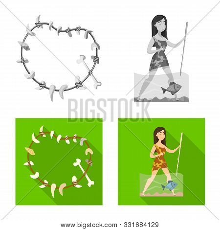 Vector Illustration Of Evolution And Prehistory Sign. Collection Of Evolution And Development Stock