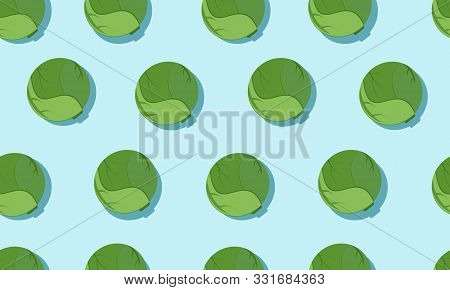 Seamless Blue Background With Brussels Sprout With Shadow. Vector Vegetables Illustration Design For