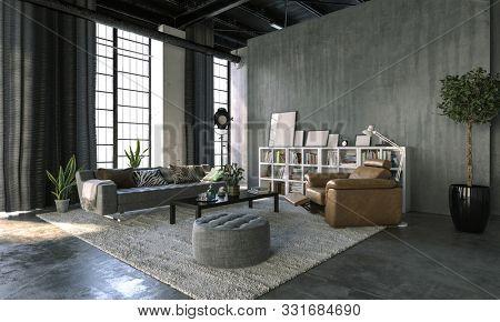 Living room inside a concrete loft interior. 3d Rendering