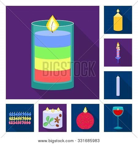 Vector Design Of Candlelight And Decoration Sign. Set Of Candlelight And Flame Stock Vector Illustra