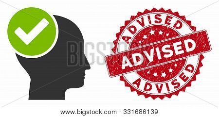 Vector Advised Icon And Distressed Round Stamp Seal With Advised Caption. Flat Advised Icon Is Isola