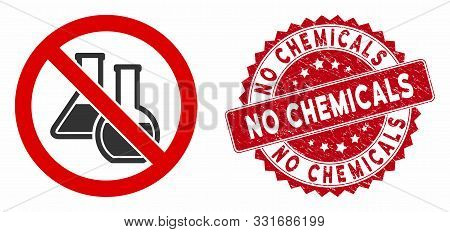 Vector No Chemicals Icon And Grunge Round Stamp Seal With No Chemicals Caption. Flat No Chemicals Ic
