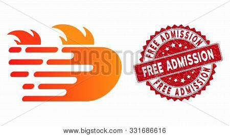 Vector Rush Fire Icon And Corroded Round Stamp Seal With Free Admission Phrase. Flat Rush Fire Icon
