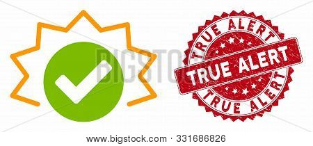 Vector True Alert Icon And Grunge Round Stamp Seal With True Alert Text. Flat True Alert Icon Is Iso