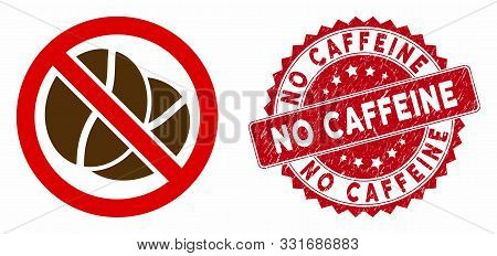 Vector No Caffeine Icon And Rubber Round Stamp Seal With No Caffeine Phrase. Flat No Caffeine Icon I