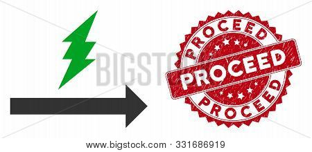 Vector Proceed Icon And Distressed Round Stamp Seal With Proceed Text. Flat Proceed Icon Is Isolated