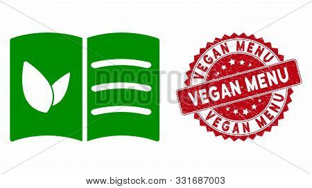 Vector Vegan Menu Icon And Grunge Round Stamp Seal With Vegan Menu Text. Flat Vegan Menu Icon Is Iso