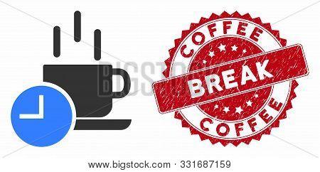 Vector Coffee Break Icon And Rubber Round Stamp Seal With Coffee Break Phrase. Flat Coffee Break Ico