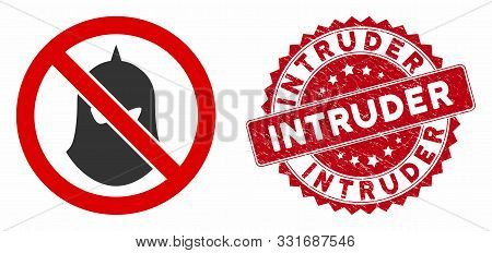 Vector No Executioner Balaclava Icon And Grunge Round Stamp Seal With Intruder Text. Flat No Executi