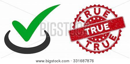 Vector True Icon And Grunge Round Stamp Seal With True Phrase. Flat True Icon Is Isolated On A White