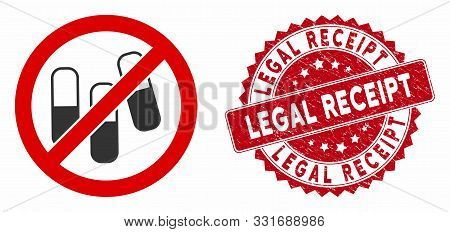 Vector No Medical Granules Icon And Rubber Round Stamp Seal With Legal Receipt Phrase. Flat No Medic