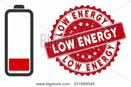 Vector Low Battery Level Icon And Rubber Round Stamp Seal With Low Energy Phrase. Flat Low Battery L