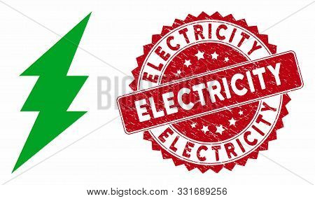 Vector Execute Icon And Corroded Round Stamp Seal With Electricity Phrase. Flat Execute Icon Is Isol