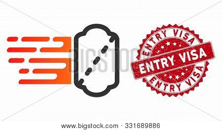 Vector Express Ticket Icon And Grunge Round Stamp Seal With Entry Visa Text. Flat Express Ticket Ico