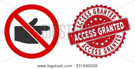 Vector No Index Finger Icon And Distressed Round Stamp Seal With Access Granted Text. Flat No Index