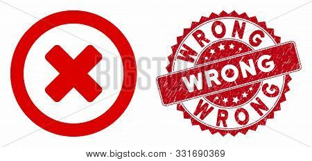 Vector Wrong Icon And Grunge Round Stamp Watermark With Wrong Text. Flat Wrong Icon Is Isolated On A