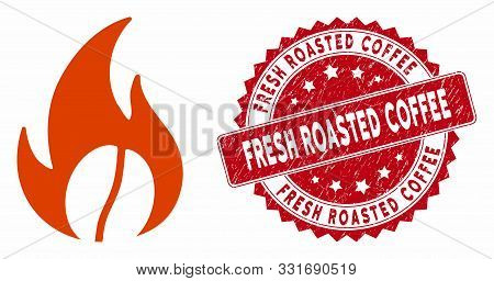 Vector Roasted Coffee Icon And Corroded Round Stamp Seal With Fresh Roasted Coffee Phrase. Flat Roas