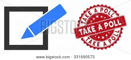 Vector Take A Poll Icon And Grunge Round Stamp Seal With Take A Poll Text. Flat Take A Poll Icon Is