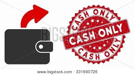 Vector Spend Cash Icon And Distressed Round Stamp Seal With Cash Only Text. Flat Spend Cash Icon Is