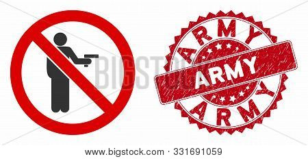 Vector No Gun Using Icon And Grunge Round Stamp Seal With Army Text. Flat No Gun Using Icon Is Isola