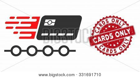 Vector Rush Grace Credit Periods Icon And Rubber Round Stamp Seal With Cards Only Text. Flat Rush Gr