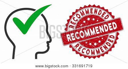 Vector Recommended Icon And Grunge Round Stamp Seal With Recommended Phrase. Flat Recommended Icon I