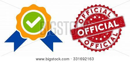 Vector Official Icon And Grunge Round Stamp Seal With Official Text. Flat Official Icon Is Isolated
