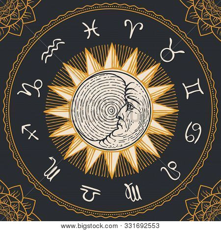 Vector Circle Of The Zodiac Signs In Retro Style With Hand-drawn Sun, Crescent Moon And Floral Patte