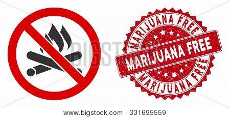 Vector No Campfire Icon And Rubber Round Stamp Seal With Marijuana Free Phrase. Flat No Campfire Ico