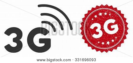 Vector 3g Icon And Rubber Round Stamp Seal With 3g Caption. Flat 3g Icon Is Isolated On A White Back