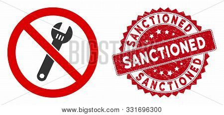 Vector No Spanner Icon And Rubber Round Stamp Watermark With Sanctioned Text. Flat No Spanner Icon I