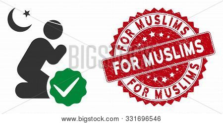 Vector For Muslims Icon And Grunge Round Stamp Seal With For Muslims Caption. Flat For Muslims Icon
